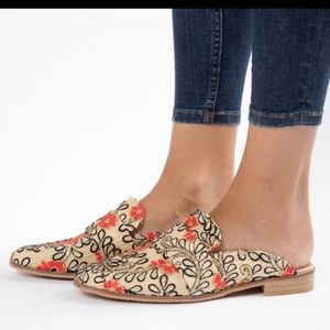 Free People Brocade Embroidered At Ease Mules 9